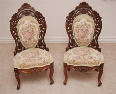 2 Victorian Belter Parlor Chairs:  Featuring 2 Belter Rosalie Wood Pattern Ladies Chairs made of Rosewood Lamanite.