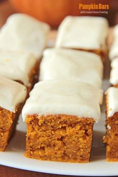 Pumpkin Bars with Cream Cheese Frosting. These would be perfect for Thanksgiving dessert. YUMMY!