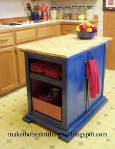 A Cool Kitchen Island Made from Two Nightstands