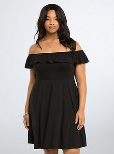 Plus Size Ruffled Off Shoulder Dress, DEEP BLACK