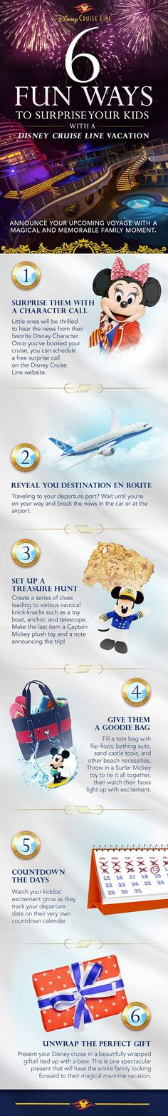 Six Fun Ways to Surprise Your Kids with a Disney Cruise. First step is to contact Karin Del Valle, Magic Creator AAA WCNY kdelvalle@nyaaa.com