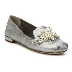 Miu Miu Jeweled Metallic Leather Loafers ($850) ❤ liked on Polyvore  featuring shoes,