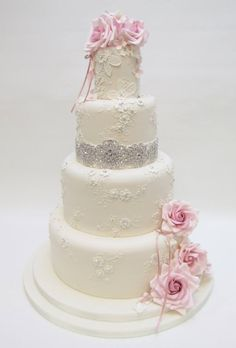 Wedding cake with dusty pink roses and bling detail - Emma Jayne Cake Design
