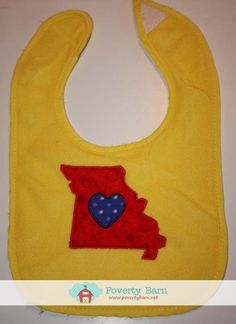 Missouri Love Bib, $8, Other Colors and States Available Upon Request
