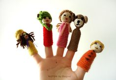 Children will love the fantastic stories created with these finger puppets!    The puppets are crocheted with several colors of yarns, and in