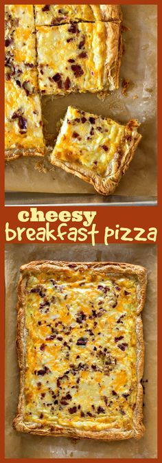 Breakfast Pizza – Crispy puff pastry is loaded with your breakfast favorites: eggs, two kinds of cheese, and bacon. It's the best thing to serve the whole family on the weekends or for a special brunch! #brunch #breakfast #recipe #Easter #Christmas #pizza