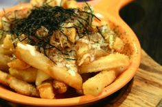 On Yuu Japanese Tapas, and Japanese Poutine. New Food Trends, Poutine, Yuu, Cheesesteak, New Recipes, Tapas, Cravings, Plating Ideas, Japanese