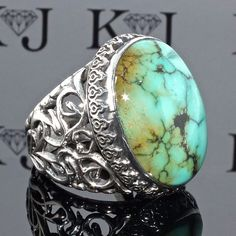 925 Sterling Silver Unique Men's Ring with beautiful Persian Turquoise Firoza  #KaraJewels #Handmade