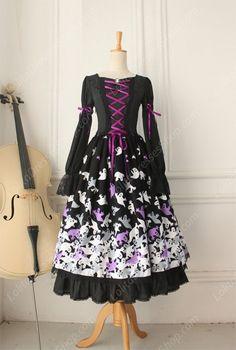 Vintage Lace Floral Ghost Print Long Gothic Lolita Dresses