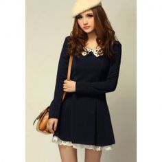 $12.52 Sweet Style Cute Lapel Lace Embellished Long Sleeve Cotton Blend Dress For Women