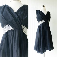 A personal favorite from my Etsy shop https://www.etsy.com/listing/272163398/vintage-black-crepe-cocktail-mini-dress
