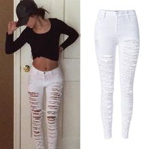 Women Plus Size Distressed High Waist Jeans