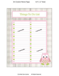 PRINTABLE-Things To Do  List-Erin Condren planner by Lesprintables