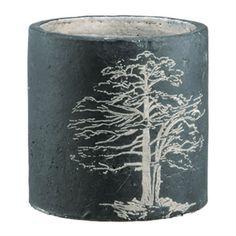 "Painted Tree Pot - ceramic planter in deep grey. 5.75""h."