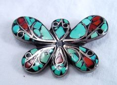 """Native American Sterling Silver Coral & Turquoise Butterfly Pin Signed ~~""""U"""" N/R"""