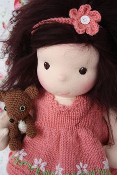By Darling Waldorf Dolls - fab amigurumi and knitted dress
