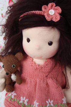 By Darling Waldorf Dolls - fab amigurumi and knitted dress