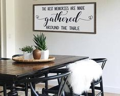 Kitchen Sign Dining Room Decor Rustic Framed Wood The Best Memories Are Made Wall Art Farmhouse