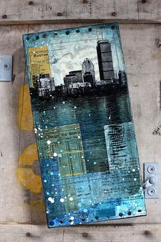 """Across The Charles No. 4 - 6"""" x 12"""" original Boston skyline mixed media collage painting on canvas"""