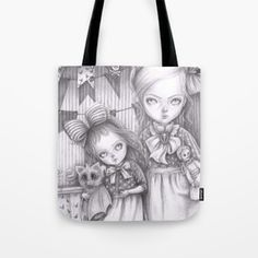 Subrina and Rosabel Tote Bag Creature 3d, 3d Illustrations, Curious Creatures, Tech Accessories, Crow, Art Dolls, Reusable Tote Bags, Wall Art, Drawings