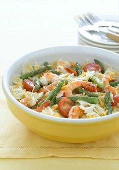 Lemon-Shrimp Pasta Salad – Is it just us, or does shrimp make every recipe special? Lemon zest and asparagus up the ante for a Healthy Living, refreshingly tasty take on pasta salad.