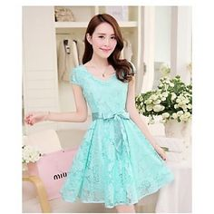 V Back Lace Short Sleeve Skater Dress with Belt
