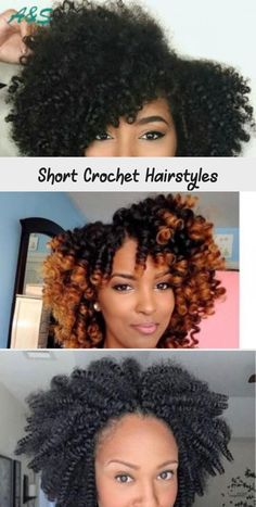 Short Crochet Hairstyles You are in the right place about crochet stitches Here we offer you the most beautiful pictures. Short Crochet Braids Hairstyles, Short Afro Hairstyles, Curly Crochet Hair Styles, Braided Hairstyles For Black Women, Braided Hairstyles Updo, Braids For Black Hair, Curly Hair Styles, Natural Hair Styles, Curly Crochet Braids