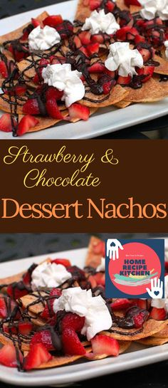 A clever twist on nachos! Dessert Nachos with strawberries and chocolate piled on sweet and crunchy cinnamon chips will be the hit of the party! Chocolate Strawberry Desserts, Chocolate Deserts, Melting Chocolate Chips, Chocolate Strawberries, Strawberry Recipes, Strawberry Brownies, Easy Desserts, Delicious Desserts, Dessert Recipes