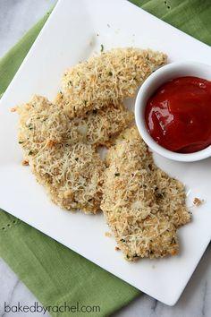 Two Cheese Panko Chicken Tenders Recipe from bakedbyrachel.com