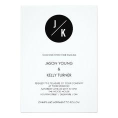 #monogrammed - #Simple modern wedding invitation - black circle
