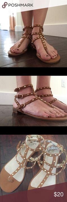 🔸Studded brown sandals🔸 NWOT. Fashionable studded brown sandals from a boutique in Scotland. Realized they were a little big. The size on the bottom of the shoe says 39 which would be a US 9 but I think they are more of an 8.5. Shoes Sandals