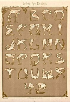 "Alphabet made by flamingos:):) c. 1900 Art Nouveau Alphabet composed of flamingos, published in Paris from the portfolio ""Lettres et Enseignes"" By E. Motifs Art Nouveau, Design Art Nouveau, Alphabet Art, Letter Art, Lettering Design, Hand Lettering, Art Mots, Jugendstil Design, Bijoux Art Deco"