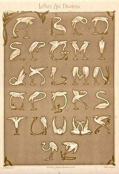 """c. 1900 Art Nouveau Alphabet composed of flamingos, published in Paris from the portfolio """"Lettres et Enseignes"""" By E. Mulier"""