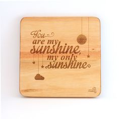 """""""You are my sunshine, my only sunshine. You make me happy, when skies are grey. You never know dear, how much I love you"""". A firm favourite, that parents enjoy singing to their children. These can be bought individually or buy the whole set! Wooden Wall Art, Wooden Walls, African Children, You Make Me Happy, You Are My Sunshine, Wall Art Designs, Nursery Art, Laser Engraving, Solid Wood"""