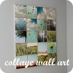 This Girl's Life: {DIY Urban Outfitters Wall Art} explains how she used Mod Podge to adhere photos onto canvas. Then she edged the borders with copper foil tape used for stain glass projects. LOVE IT!