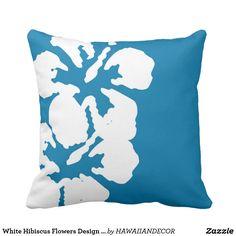 White Hibiscus Flowers Design on Blue Throw Pillow