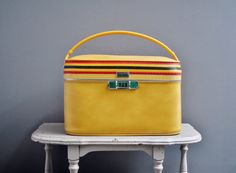 Yellow Striped Amelia Earhart Train Case by thewhitepepper on Etsy, $68.50