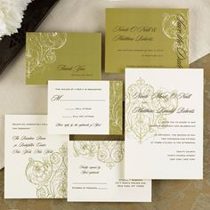 """#weddinginvitation Distinction - This sophisticated invitation is sure to set the tone for your special day. A classically elegant damask design adorns this ecru card. 5 1/8"""" x 7 1/4"""""""