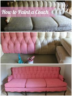 Diy Sofa, Diy Furniture Couch, Diy Furniture Projects, Upholstered Furniture, Upcycled Furniture, Painting Fabric Furniture, Paint Upholstery, Paint Furniture, Fabric Painting