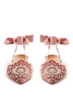 A roundup of our favorite fancy shoes for summer: These embroidered velvet backless flats would be perfect for a wedding.