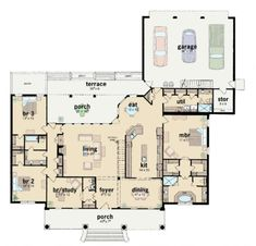 Ranch Plan: 2,981 Square Feet, 3 Bedrooms, 3.5 Bathrooms - 046-00277 Colonial House Plans, European House Plans, Garage House Plans, House Plans One Story, Southern House Plans, Best House Plans, Country House Plans, Dream House Plans, House Floor Plans