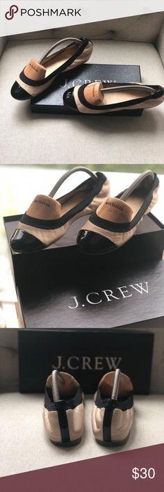 8231c6592bd Beige   black patent leather J Crew ballet flats Barely worn beige leather    black patent