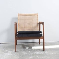 Danish Midcentury Teak and Rattan Chair in Style of Pierre Jeanneret 2