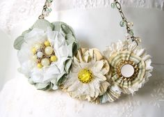 Mint and Yellow Flower Necklace, Floral Statement Necklace, Gift for Women and Girls
