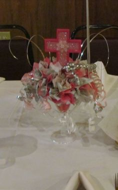 Baptism Centerpiece Baby Girl Baptism, Baptism Party, Baby Christening, Baby Party, Baptism Ideas, Christening Centerpieces, Baptism Decorations, Communion Centerpieces, Birthday Centerpieces