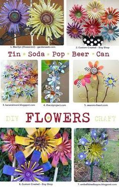 DIY Tin Can Flowers. Want to make some simple flowers to adorn up cycled garden projects… Like making the little yello watering can into a bird house! DIY Tin Can Flowers. Aluminum Can Crafts, Metal Crafts, Recycled Crafts, Diy Crafts, Aluminum Cans, Aluminum Can Flowers, Recycled Garden Art, Soda Can Flowers, Tin Flowers