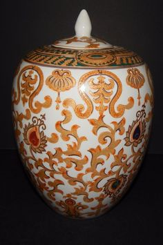 Oriental Traditional Ceramic Accents Vase Gold Green Decor Multi-Color Vintage #OrientalAccents #Traditional
