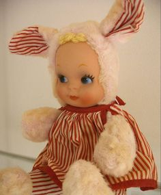 Vintage Knickerbocker Plush Girl Bunny by ryansnanapie ~ I have a soft spot for these somewhat creepy darlings.
