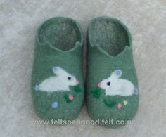 Felted Slippers Felt wool Felted kids footware todlers shoes Finest Wool Natural Grey and green with needle felted picture on Etsy, $27.00