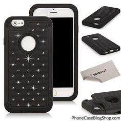 iPhone 6 4.7 Case SGM Hybrid Gel Rhinestone Bling Armor Defender Case for Apple iPhone 6 (4.7) (2014) (Black  Black)